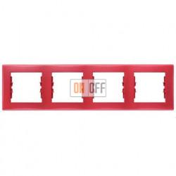 Рамка четырехместная горизонтальная Schneider Sedna (красный) SDN5800741