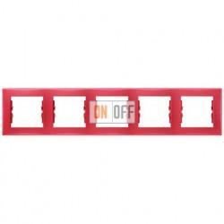 Рамка пятиместная горизонтальная Schneider Sedna (красный) SDN5800941