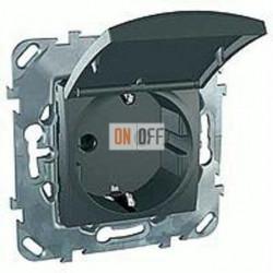 Розетка с заземляющими контактами 16 А / 250 В~, с откидной крышкой  Schneider Unica графит MGU5.037.12TAZD