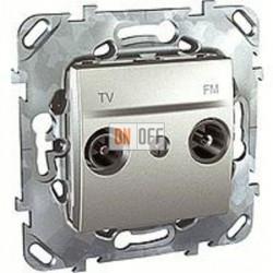 Розетка телевизионная проходная TV FM, диапазон частот от 4 до 2400 MГц Schneider Unica алюминий MGU5.453.30ZD
