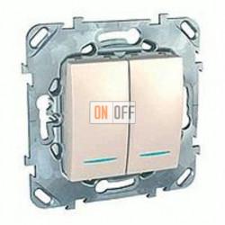 Выключатель двухклавишный проходной (вкл/выкл с 2-х мест) с подсветкой, 10 А / 250 В~ Schneider Unica кремовый MGU5.0303.25NZD