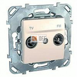 Розетка телевизионная оконечная TV FM, диапазон частот от 4 до 2400 MГц Schneider Unica кремовый MGU5.452.25ZD