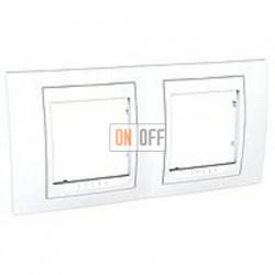 Рамка двойная, для горизонт. монтажа Schneider Unica Хамелеон белый MGU6.004.18