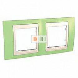 Рамка двойная, для горизонт. монтажа Schneider Unica Хамелеон зеленое яблоко-бежевый MGU6.004.563