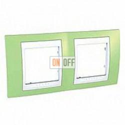 Рамка двойная, для горизонт. монтажа Schneider Unica Хамелеон зеленое яблоко-белый MGU6.004.863