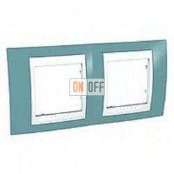 Рамка двойная, для горизонт. монтажа Schneider Unica Хамелеон синий-белый MGU6.004.873