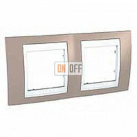 Рамка двойная, для горизонт. монтажа Schneider Unica Хамелеон коричневый-белый MGU6.004.874