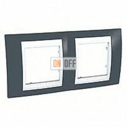 Рамка двойная, для горизонт. монтажа Schneider Unica Хамелеон серозеленый-белый MGU6.004.877