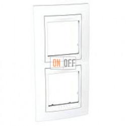 Рамка двойная, для вертик. монтажа Schneider Unica Хамелеон белый MGU6.004V.18