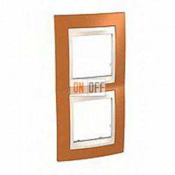Рамка двойная, для вертик. монтажа Schneider Unica Хамелеон оранжевый-бежевый MGU6.004V.569