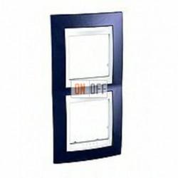 Рамка двойная, для вертик. монтажа Schneider Unica Хамелеон индиго-белый MGU6.004V.842