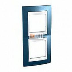 Рамка двойная, для вертик. монтажа Schneider Unica Хамелеон голубой лед-белый MGU6.004V.854