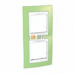 Рамка двойная, для вертик. монтажа Schneider Unica Хамелеон зеленое яблоко-белый MGU6.004V.863