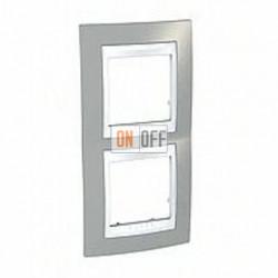 Рамка двойная, для вертик. монтажа Schneider Unica Хамелеон серый-белый MGU6.004V.865