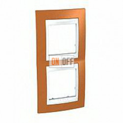 Рамка двойная, для вертик. монтажа Schneider Unica Хамелеон оранжевый-белый MGU6.004V.869
