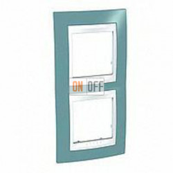 Рамка двойная, для вертик. монтажа Schneider Unica Хамелеон синий-белый MGU6.004V.873