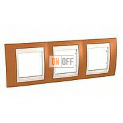 Рамка тройная, для горизонт. монтажа Schneider Unica Хамелеон оранжевый-бежевый MGU6.006.569