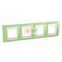 Рамка четверная, для горизонт. монтажа Schneider Unica Хамелеон зеленое яблоко-бежевый MGU6.008.563