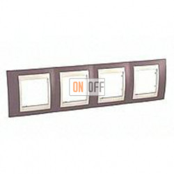 Рамка четверная, для горизонт. монтажа Schneider Unica Хамелеон лиловый-бежевый MGU6.008.576