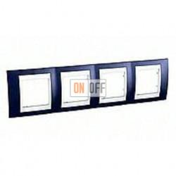 Рамка четверная, для горизонт. монтажа Schneider Unica Хамелеон индиго-белый MGU6.008.842