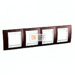 Рамка четверная, для горизонт. монтажа Schneider Unica Хамелеон терракотовый-белый MGU6.008.851