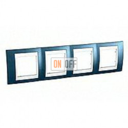 Рамка четверная, для горизонт. монтажа Schneider Unica Хамелеон голубой лед-белый MGU6.008.854