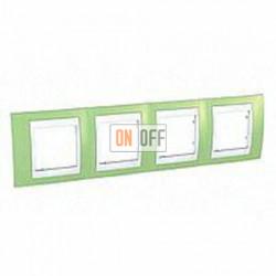Рамка четверная, для горизонт. монтажа Schneider Unica Хамелеон зеленое яблоко-белый MGU6.008.863