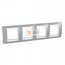 Рамка четверная, для горизонт. монтажа Schneider Unica Хамелеон серый-белый MGU6.008.865