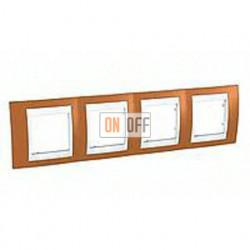 Рамка четверная, для горизонт. монтажа Schneider Unica Хамелеон оранжевый-белый MGU6.008.869