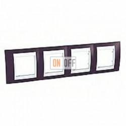 Рамка четверная, для горизонт. монтажа Schneider Unica Хамелеон гранат-белый MGU6.008.872