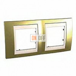Рамка двойная, для горизонт. монтажа Schneider Unica Хамелеон золото-бежевый MGU66.004.504