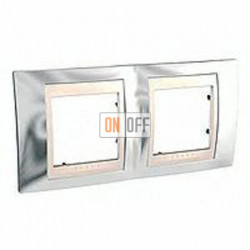 Рамка двойная, для горизонт. монтажа Schneider Unica Хамелеон серебро-бежевый MGU66.004.510