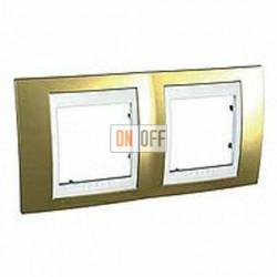 Рамка двойная, для горизонт. монтажа Schneider Unica Хамелеон золото-белый MGU66.004.804