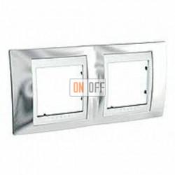 Рамка двойная, для горизонт. монтажа Schneider Unica Хамелеон серебро-белый MGU66.004.810
