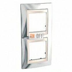 Рамка двойная, для вертик. монтажа Schneider Unica Хамелеон серебро-бежевый MGU66.004V.510