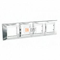 Рамка четверная, для горизонт. монтажа Schneider Unica Хамелеон серебро-белый MGU66.008.810