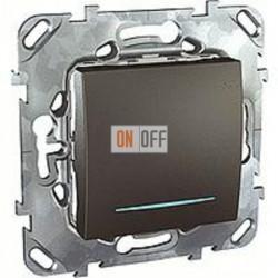 Выключатель одноклавишный перекрестный (вкл/выкл с 3-х мест) с подсветкой 10 А / 250 В~ Schneider Unica графит MGU5.205.12NZD