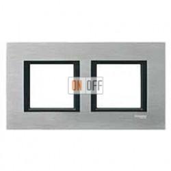 Рамка двойная, для гориз./вертик. монтажа Schneider Unica Class серебристый алюминий MGU68.004.7A1