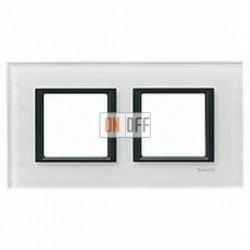 Рамка двойная, для гориз./вертик. монтажа Schneider Unica Class белое стекло MGU68.004.7C2