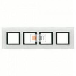 Рамка четверная, для гориз./вертик. монтажа Schneider Unica Class белое стекло MGU68.008.7C2