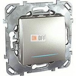 Выключатель одноклавишный с подсветкой, 10 А / 250 В~ Schneider Unica алюминий MGU5.201.30NZD