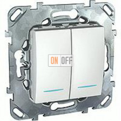 Выключатель двухклавишный с подсветкой, 10 А / 250 В~  Schneider Unica белый MGU5.0101.18NZD