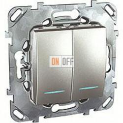 Выключатель двухклавишный с подсветкой, 10 А / 250 В~ Schneider Unica алюминий MGU5.0101.30NZD