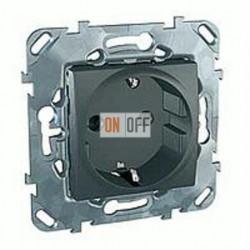 Розетка с заземляющими контактами 16 А / 250 В~ с защитой от детей, Schneider Unica графит MGU5.037.12ZD