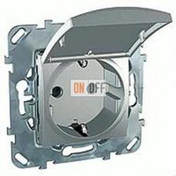 Розетка с заземляющими контактами 16 А / 250 В~, с откидной крышкой Schneider Unica алюминий MGU5.037.30TAZD