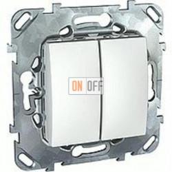 Выключатель двухклавишный, проходной (вкл/выкл с 2-х мест) 10 А / 250 В~  Schneider Unica белый MGU5.213.18ZD