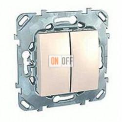 Выключатель двухклавишный, проходной (вкл/выкл с 2-х мест) 10 А / 250 В~ Schneider Unica кремовый MGU5.213.25ZD