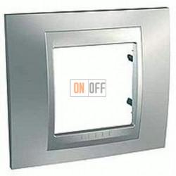 Рамка одинарная Schneider Unica TOP хром матовый-алюминий MGU66.002.038