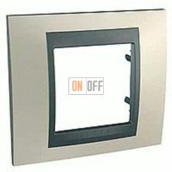 Рамка одинарная Schneider Unica TOP опал-графит MGU66.002.295