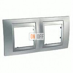 Рамка двойная, для горизонт. монтажа Schneider Unica TOP хром матовый-алюминий MGU66.004.038